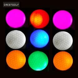 CRESTGOLF 10 قطعة LED كرات الجولف ليلة التدريب ممارسة الغولف كرات اثنان طبقة كرات الجولف 6 ألوان للاختيار Balle دي هدية ألعاب الغولف