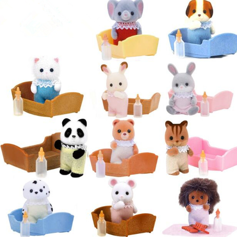 Limited Collection Cat Bear dog panda Hedgehog Elephant squirrel baby plush little toys Set New with
