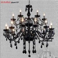 Lustre De Cristal preto Luz Moderno Preto Iluminação Lustre para quarto Sala de Jantar sala de estar Do Hotel Iluminação da lâmpada Da Vela