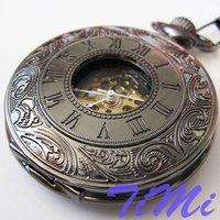 2010 New Black Classic Antique Roman Mechanial Pocket Watch