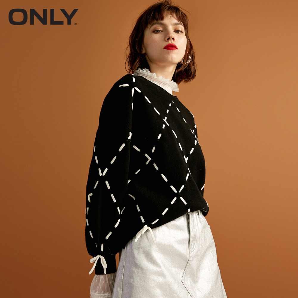 Только Женская зимняя новая Свободная резинка, кружевной вязаный свитер, модный дизайн с ромбовидной решеткой на завязках | 118324560
