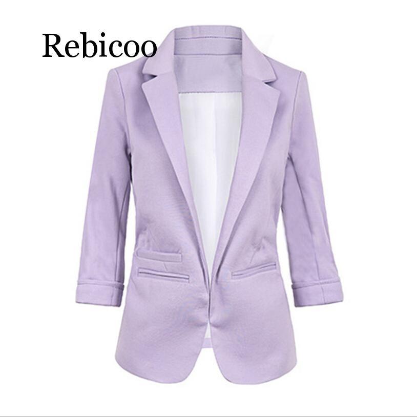 Women Formal Jackets Office Work Open Front Notched Blazer 2019 Autumn Slim Fit Blazer White Ladies Blazer