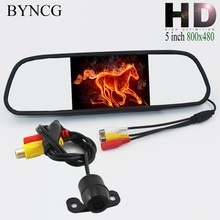 Parking Assistance System 2 in 1 5 inch Digital TFT LCD Mirror Auto Car Parking Monitor + 170 Degrees Mini Car Rear view Camera