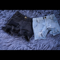 Cateleya December new BJD top Doll clothes Denim shorts Shredded pants black Canvas blue