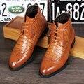 Mens zapatos brogue cuero genuino ocasional joven de piel de invierno caliente felpa corta tallado bullock nieve botines lace up botines masculino