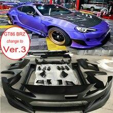 FRP стекловолокно X Rocket Bunny BRZ/FR-S Ver3 Aero комплект кузова для Toyota GT86 Subaru BRZ FT86 FRS бампер+ спойлер губы