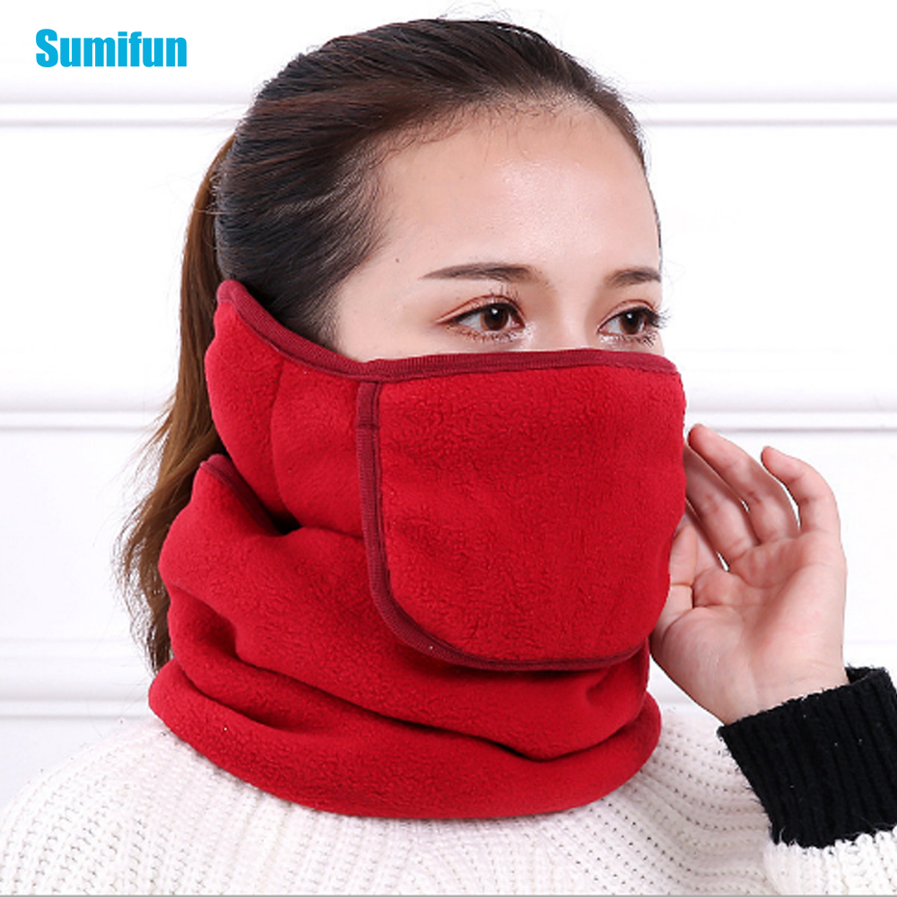 Sumifun 1pcs Winter Dustproof Warm Collar Neck Masks Open All-in-one Triple Neck Ear Cap Riding Protective Male And Female Z784