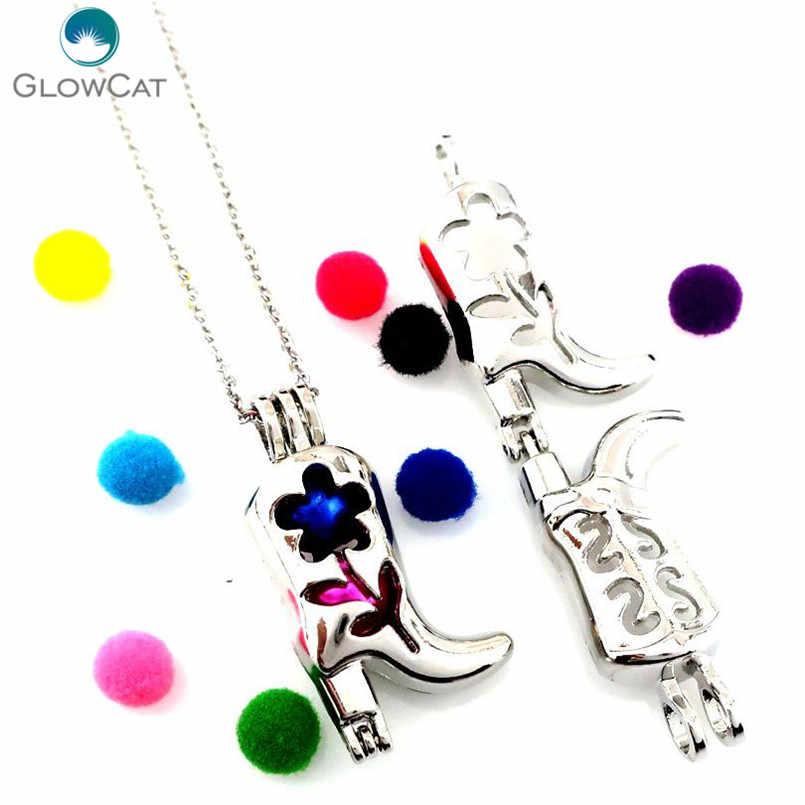 K664 Gümüş Yüksek Topuk Çizmeler Boncuk Kafes Kolye Çelik Kolye Kadın Kızlar Parti Hediye Madalyon