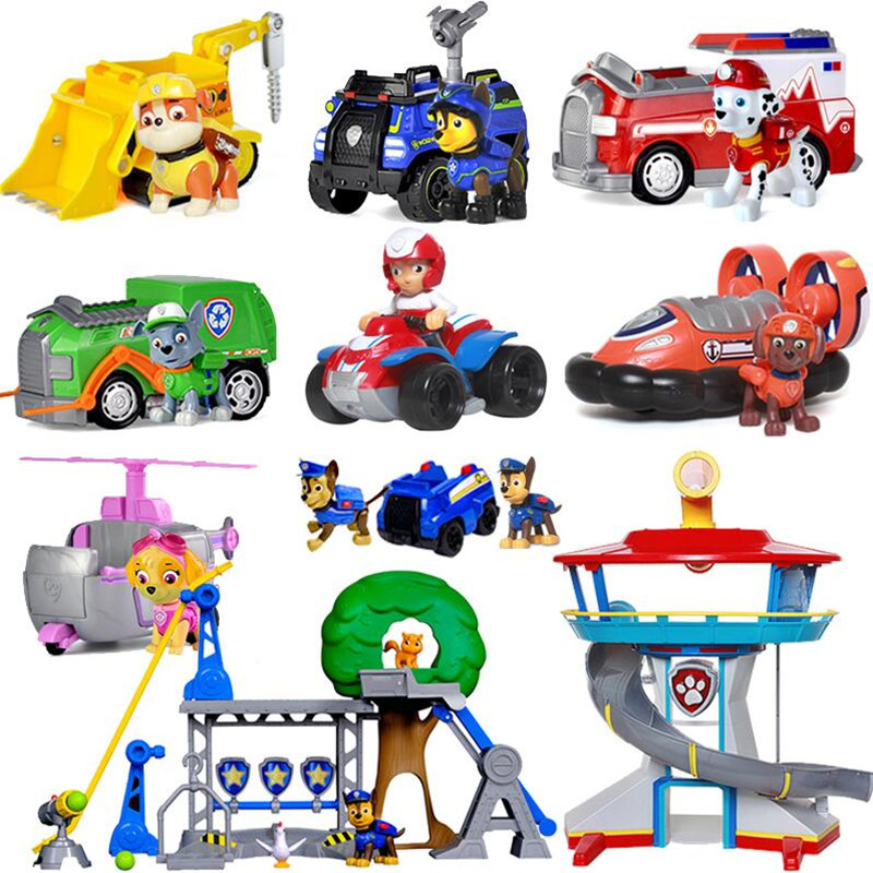 Paw patrol Patrol car Vehicles Toys Figurine Plastic Toy Action Figure model patrulla canina kids toys Combination set paw patrol patrol car vehicles toys figurine plastic toy action figure model patrulla canina kids toys combination set
