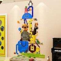 Felice Animali Lion Penguin Design FAI DA TE Acrilico Wall Stickers Camera Dei Bambini Scuola Materna Decorazioni Per Parete