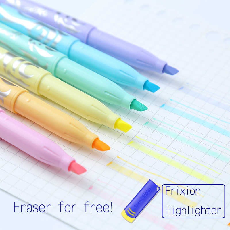 Pilot FriXion Erasable Markers 6pcs Pastel Highlighters Soft Color Erasable Pen Kawaii Stationery Scrapbooking Pens For School