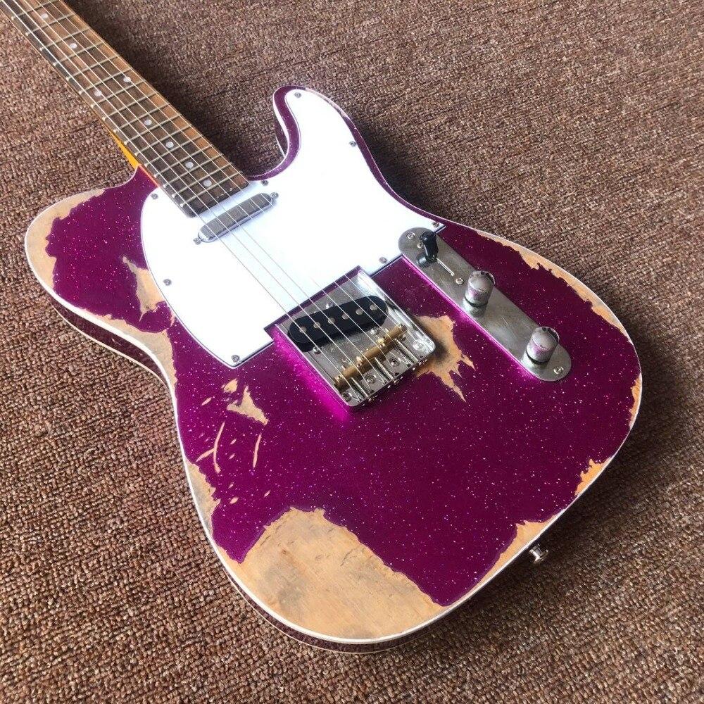 Custom Shop main télédiffusion gitaar, violet couleur Tele Guitare électrique reliques par mains. Maître construire relic TL guitarra. réel pic