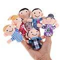 6 unids/lote fantoches de dedo Del Dedo de la Familia Puppets Cloth Baby Doll Juguetes Educativa Mano Historia Kid Niño Niños Niñas de Educación juguete
