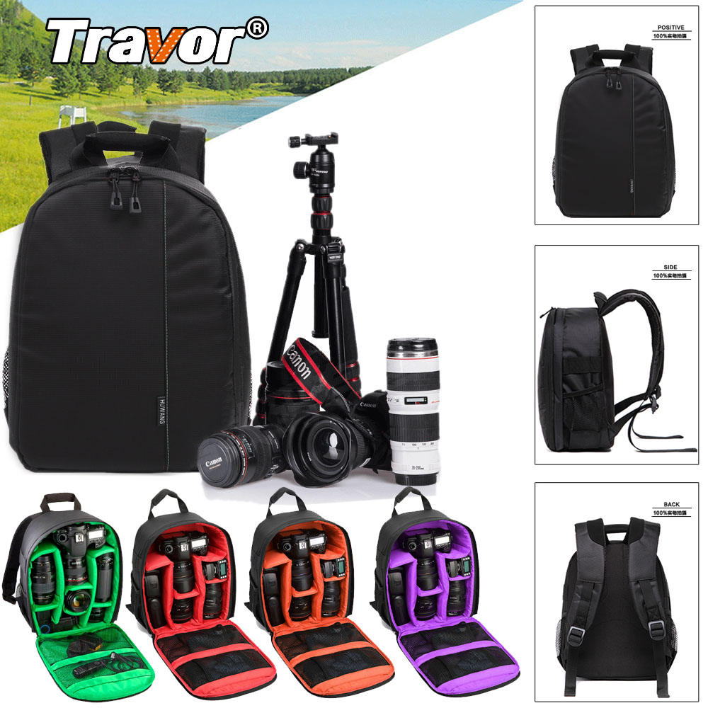 "Travor Waterproof Digital DSLR Photo Padded Backpack Rain Cover Laptop 12"" Multi-functional Camera Soft Bag Video Case"