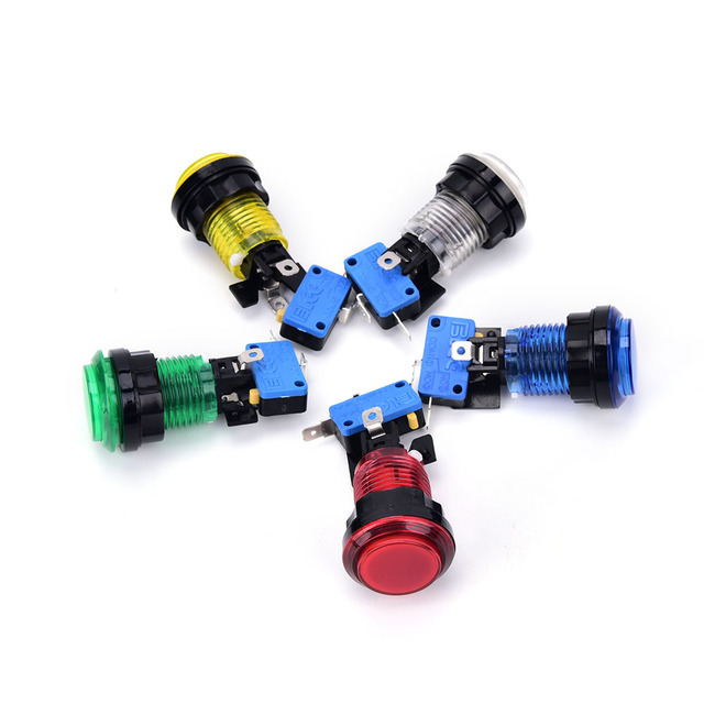 1PCS LED Light Illuminated Round Arcade Video Game Player Push Button Switch 5 Colors 32mm