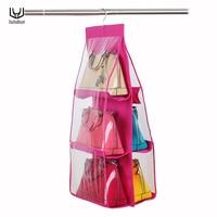 6 Pockets Large Size Bag Hanging Storage Closet Organizer Tote Bag Storage Organizer Handbag Holder For