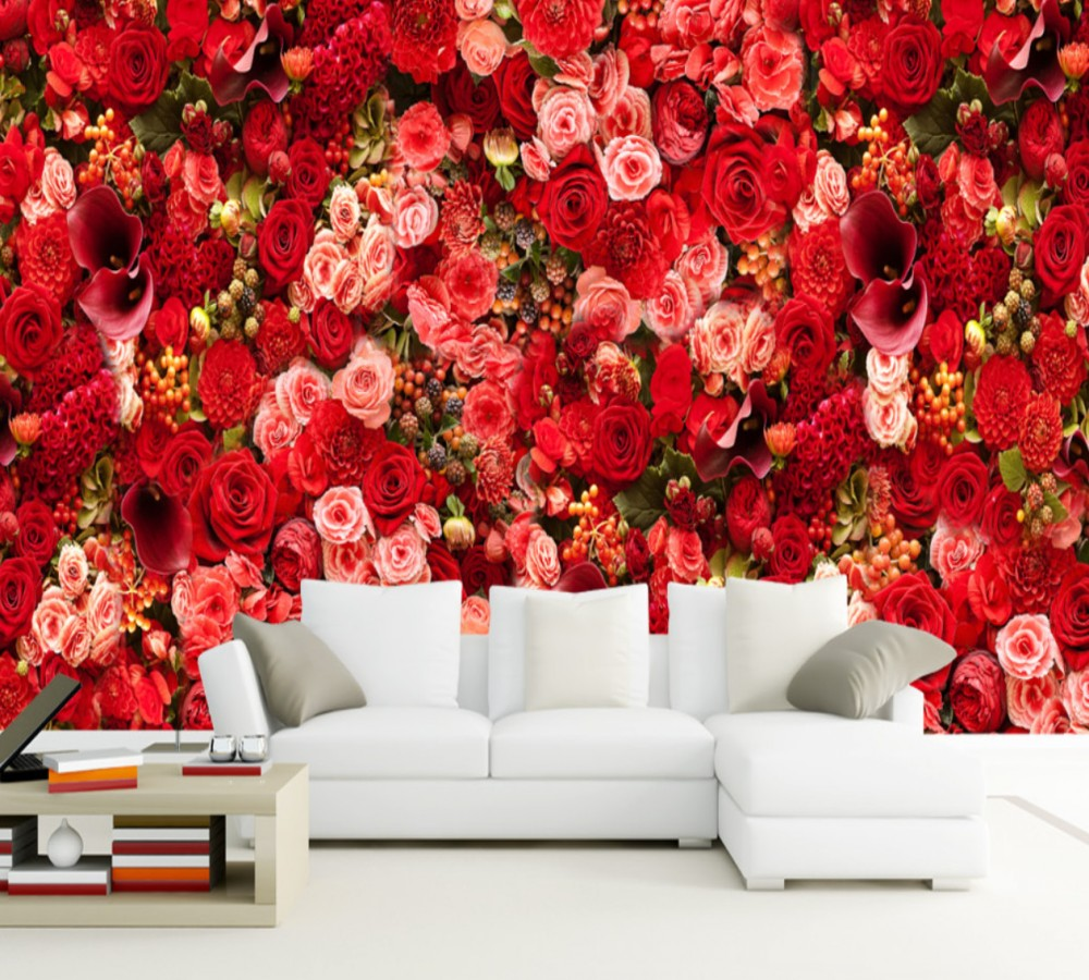 HD Red Rose Sea Bouquet Theme Living Room Background Wall