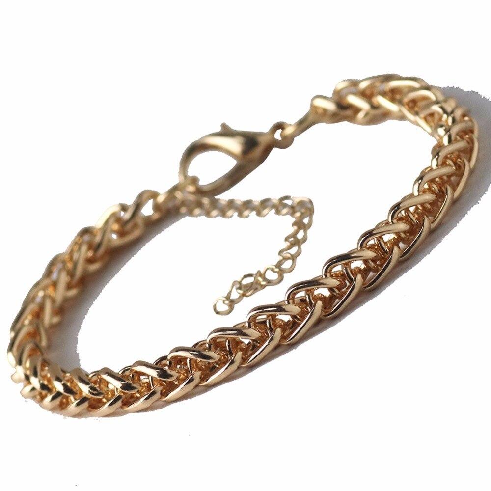 Wheat Cuban Link Chain Bracelets Men Stainless Steel Gold Color Chain Bracelet Punk Hiphop Sports Fitness Custom Jewelry