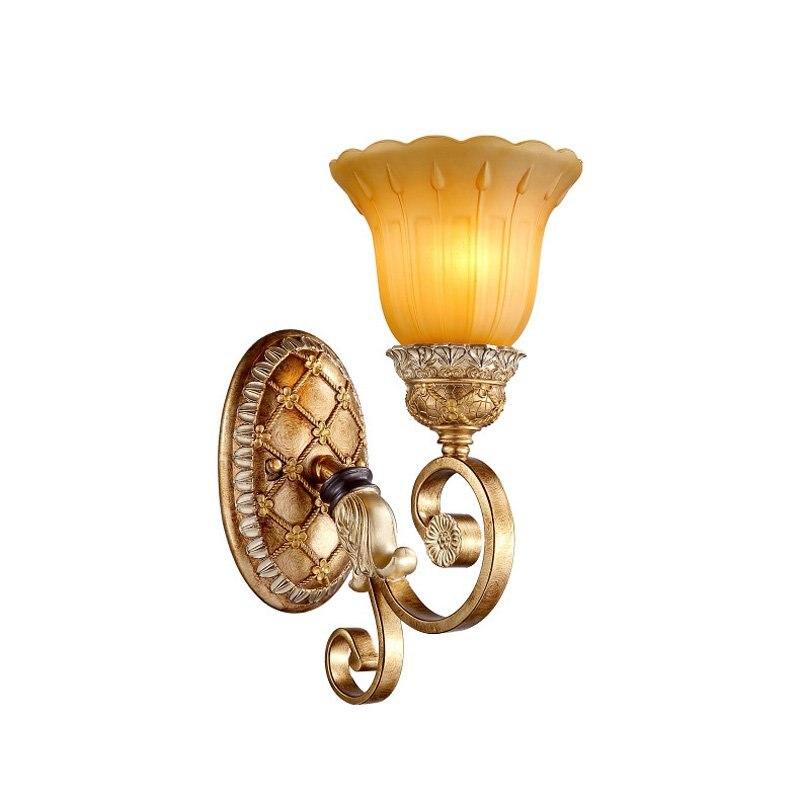 Evropská Vintage Pryskyřice Ložnice Nástěnné světlo Luxusní Vila Balkon Nástěnné osvětlení Řezba Pryskyřice Držák Galerie chodeb Nástěnné nástěnné svítidla