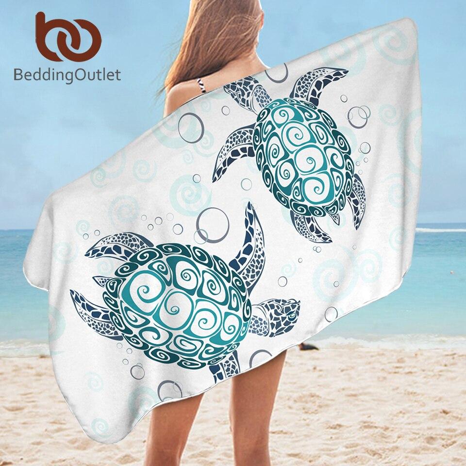 >BeddingOutlet Turtle Bath Towel For Bathroom Microfiber Tortoise Beach Towel for Adults <font><b>Blue</b></font> <font><b>White</b></font> Cartoon Marine Animal Blanket