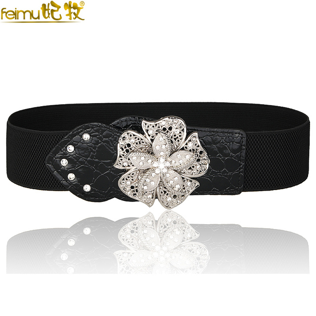 2016 Hot Sale Cheap Fashion Diamond Flower Black Waist Belt Luxury Feamle Bridal Belts Sash with Crystals and Hook para de PF07