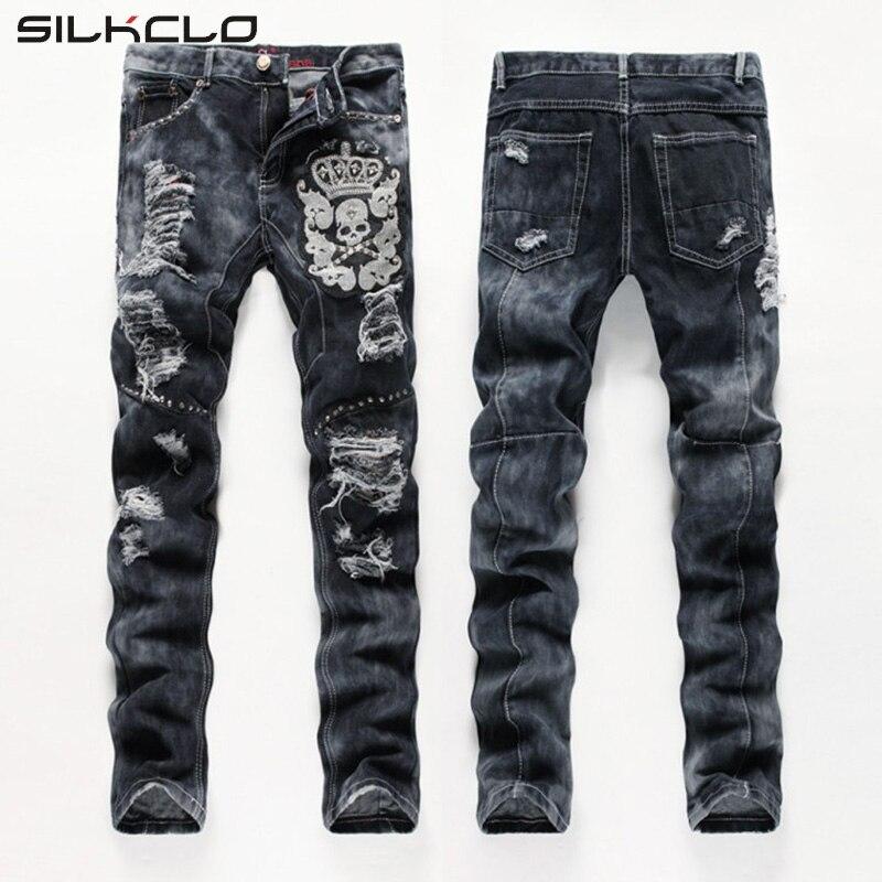 ФОТО European American Style men fashion jeans cotton luxury quality slim skulls brand Straight men hole jean black denim trousers