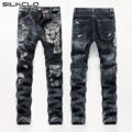 European American Style men fashion jeans cotton luxury quality slim skulls brand Straight men hole jean black denim trousers