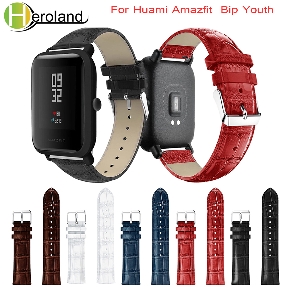 Crocodile Belt Straps For Xiaomi Huami Amazfit Bip BIT Lite Youth Leather Smart Watch Band  For Amazfit Bracelet 20mm Sports
