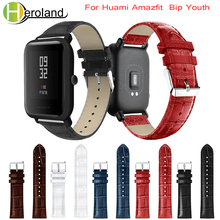 Купить с кэшбэком Crocodile Belt Straps For Xiaomi Huami Amazfit Bip BIT Lite Youth leather Smart Watch band  for amazfit Bracelet 20mm Sports