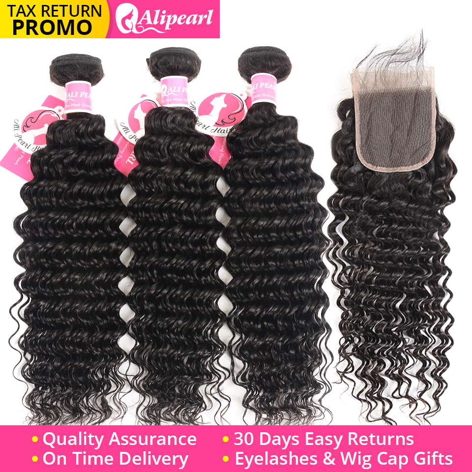 Alipearl 613 Blonde Bundles With Closure Straight Human Hair Brazilian Hair Weave Bundles With Closure 4x4 Free Part Remy Hair Profit Small Hair Extensions & Wigs Human Hair Weaves