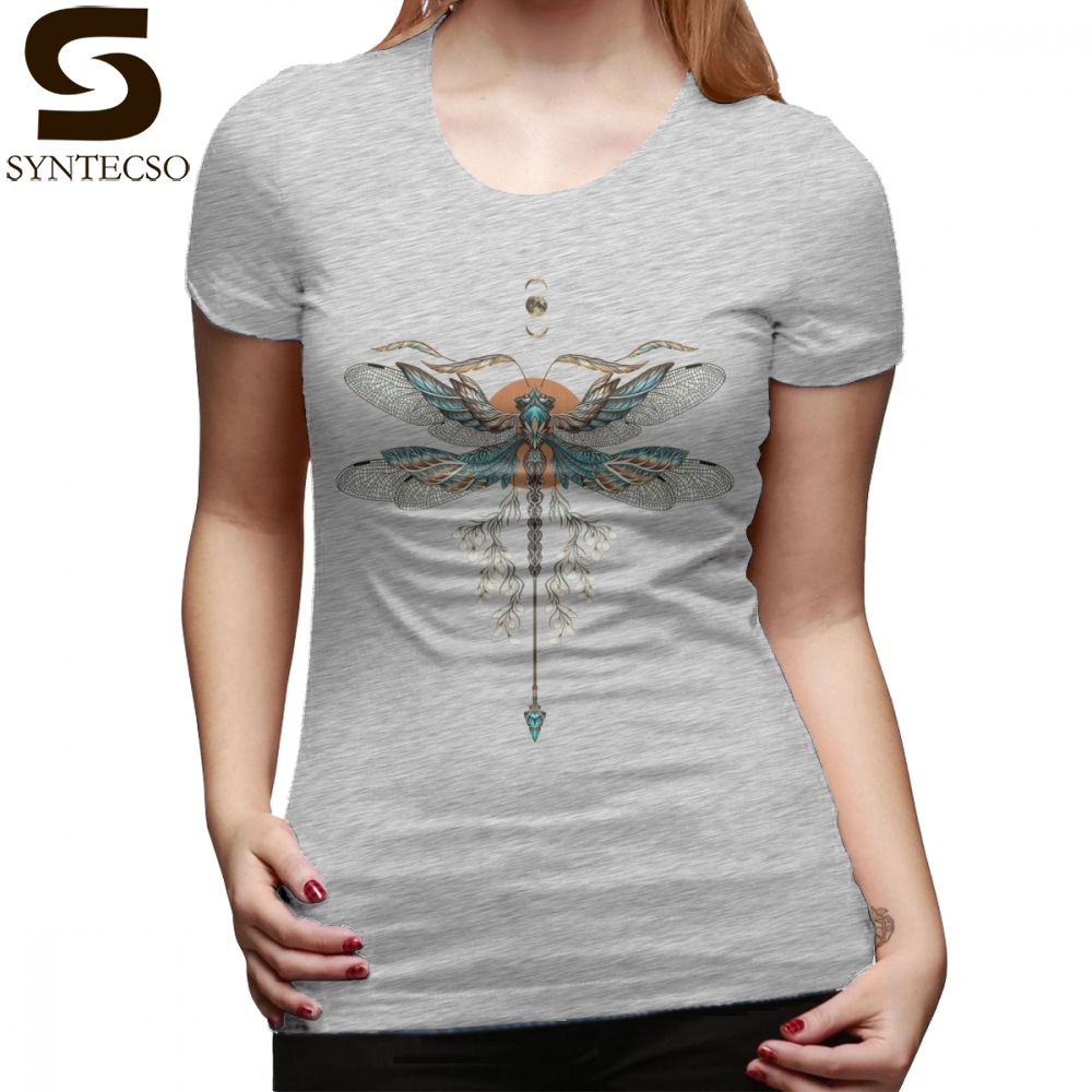 Tattoo T-Shirt Dragon Fly Tattoo T Shirt Gray 100 Cotton Women tshirt Pattern Large Short-Sleeve O Neck Ladies Tee Shirt