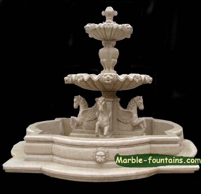 Stone Fountains For Sale Small Garden Stone Fountain With Statues Of  Pegasus Lion Head Spouts Two