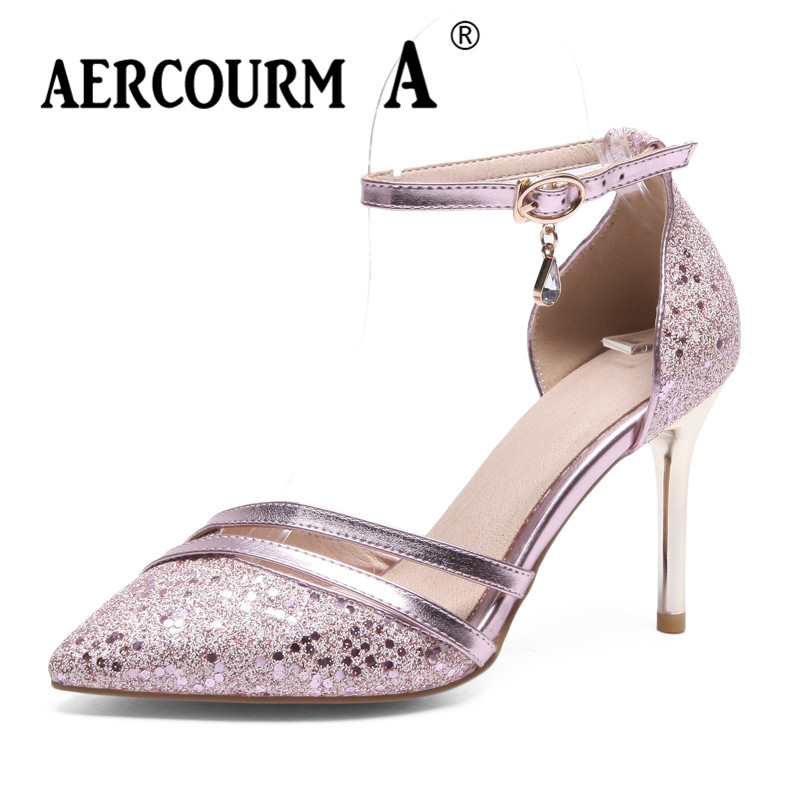 Aercourm A 2018 New Women Tip Head Buckle Pumps Shoes Girls Super High Heels Shoes Solid Wedding Thin Heels Shoes Pumps Sandals p80 panasonic super high cost complete air cutter torches torch head body straigh machine arc starting 12foot