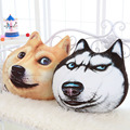 2017 Creative 3D Dog Pillow 55*55cm Large Huskie Akita Soft Short Plush Digital Printing High Quality PP Cotton Fill Cushion