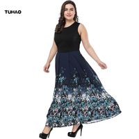TUHAO Plus Size 6XL 5XL Women Maxi Long Print Dresses Sleeveless Office Lady Large Size Summer Dress Vintage Bohemian Dress XX06
