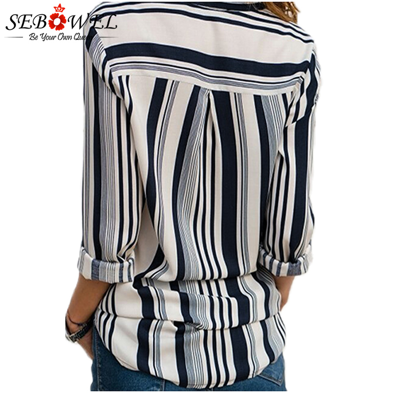 2018 Summer Striped Women Tops and Blouse Plus Size Casual Female Shirts Loose Office Ladies Workwear Blouse Shirts Tops SEBOWEL 5
