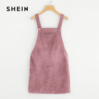 SHEIN Pink Bib Pocket Front Overall Dress 2018 Fashion Sleeveless Zipper Plain Woman Clothes Straps Shift