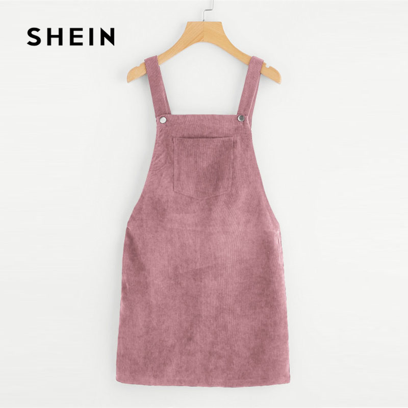 SHEIN Pink Bib Pocket Front Overall Dress, 2018 Fashion Sleeveless Zipper Plain Woman Clothes,Straps Shift Short Pinafore Dress