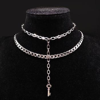 ef8238d14830 2019 clave de acero inoxidable gargantilla Collar para mujeres de doble  Color plata Steampunk collar de la joyería con palo mujer moda N17972