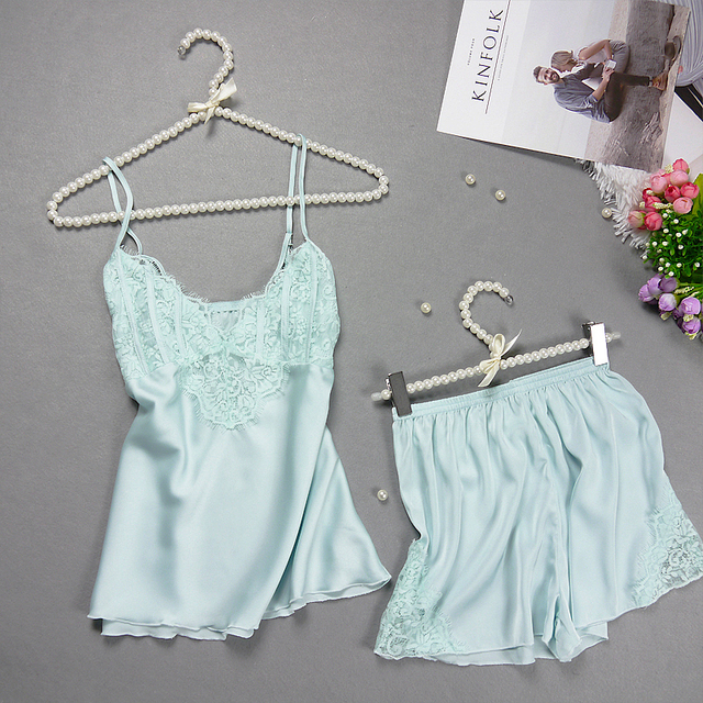 PIGIAMA Women Pajamas Sexy Pyjama Set Nightsuit Lace Silk Straps Bathrobe Women Sleepwear Shorts Pijamas Homewear