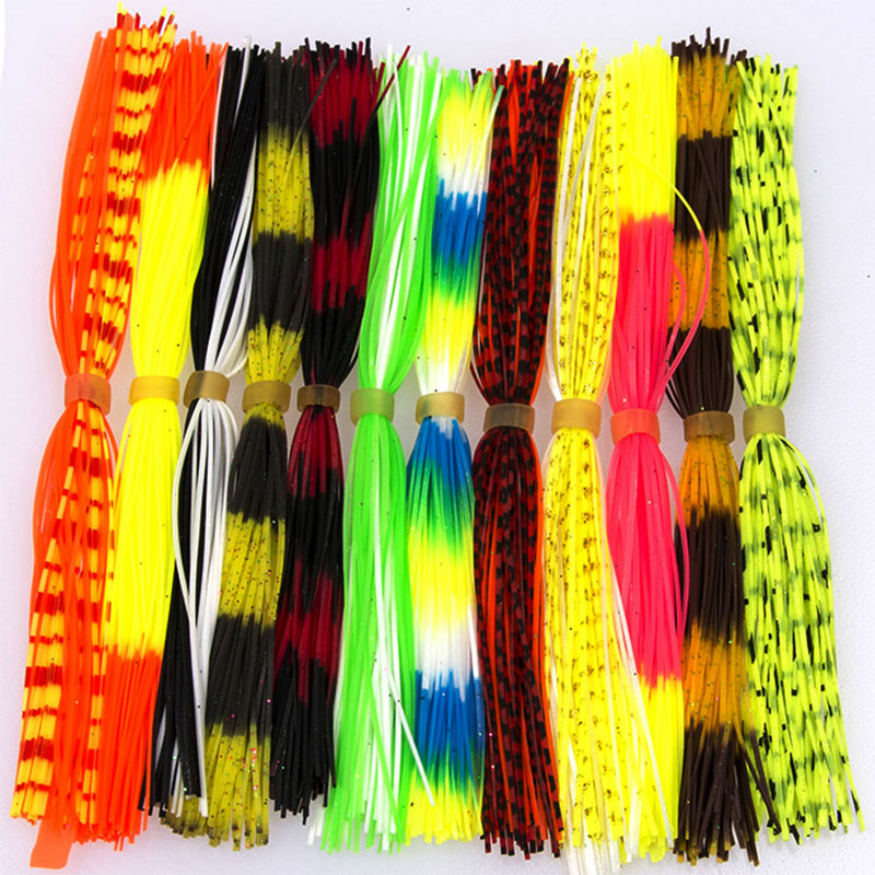 12 Bundles/Bag Mixed Color Silicone Skirts For Spinnerbait Buzzbait Rubber Jig Lures Squid Skirts Fly Tying Material