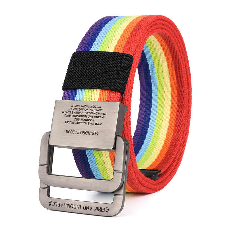 Nylon Canvas Belt men Army Tactical Belts man Outdoor sport double buckle Nylon Canvas cowboy pants Belt Rainbow Color NS35
