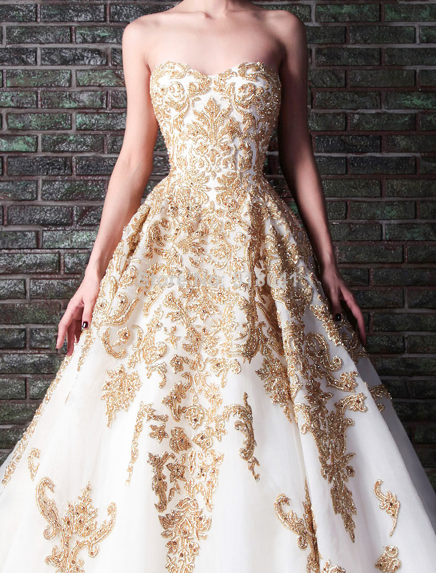 2014 Rami Kadi gold embroidery wedding gown XT 1085 white and gold ...