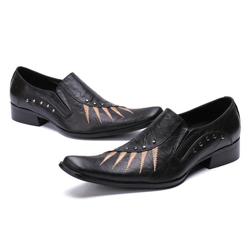 Cravado Handmade Sapatos Genuíno Apontado Dedo Couro Homens Rebites De Dos Sl395 Homem Festa Deslizamento Mocassins Nova Casamento Chegada Preto Escritório Oaxw4Bwq