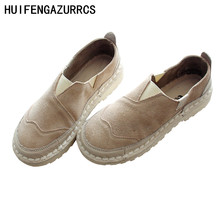 HUIFENGAZURRCS-Hot,New Spring and autumn new literary artistic womens casual shoes, handmade round head flat bottom shoes