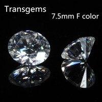 TransGems 7,5 мм 1,5 карат сертифицированных F бесцветный Муассанит Свободные лаборатории Драгоценный Алмаз Тест как настоящий бриллиант круглый