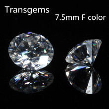 TransGems 7.5mm F Colorless Moissanite Loose Gemstone Equivalent Diamond Carat Weight 1.5ct Clear Moissnaite Diamond for Jewelry
