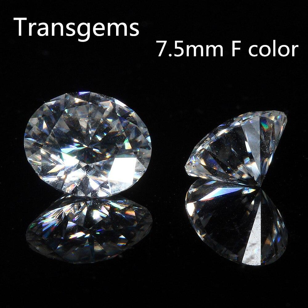 TransGems 7.5mm F Incolore Moissanite Lâche Pierres Précieuses Équivalent Diamant Carat Poids 1.5ct Clair Moissnaite Diamant pour les Bijoux