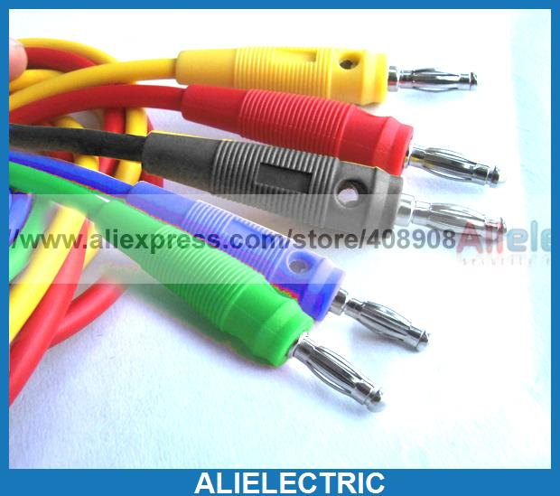 ФОТО 5 Color Soft Silicone Voltage Banana to 4mm Banana Plug Cable for Binding Post 679364001314