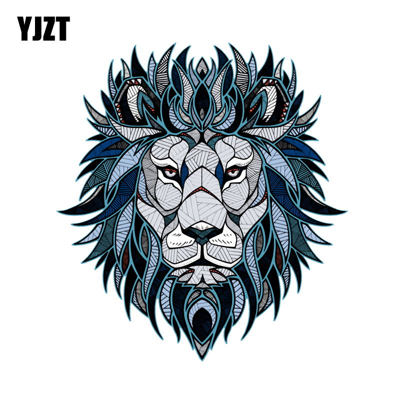 YJZT 13.7CM*15.1CM Creative Lion Head Pattern Decal PVC Motorcycle Car Sticker 11-00629